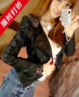 2013 autumn and winter fashion trend fashion epaulet decoration leather clothing short design coat slim leather jacket female