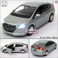 New 1:32 Honda Insight Alloy Diecast Model Car With Sound&Light Silver Toy Collection B221b
