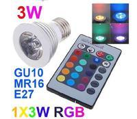 3W MR16 E27 base holder (GU10 E14 GU5.3) RGB led lights Remote Control Bulbs 16 Color Changing CE Rohs
