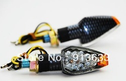 In stock 2pcs/lot Carbon Turn Signal LED KAWASAKI Dual Sport Motorcycle dirt bike supermoto light(China (Mainland))