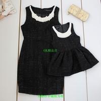 2 family fashion handmade beading sleeveless woolen one-piece dress