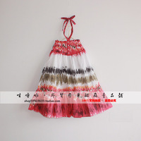 free shipping girls lace dress with halter-neck