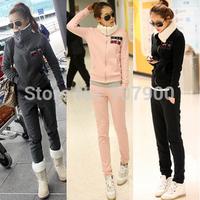 Free shipping 2014 Fall Winter Women Casual Sports Suits Hoodie+Pants Sportswear Lady's fleece sweater Set tracksuit