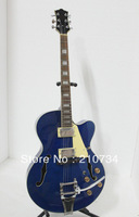 Wholesale - Newest Bule Hollow Jazz Guitar with Bigbys OEM Musical instruments A6238
