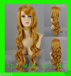 Wholesale distributors HOT' Trendy Beauty natural curly Golden Fashion hair wigs women wig/wigs A07B(China (Mainland))