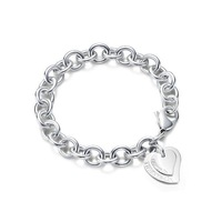 Girl's woman jewelry Bracelet double heart bracelet silver plated bracelet accessories popular