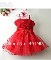 2013 New Stock Girl Party Dresses Red Children Baby Lace Princess Dress Fashion Christmas Costumes for Childres Clothing