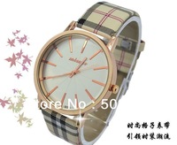 2013 Fashinable Grid Leather wristwach, quality quartz analog grid watches free shipping