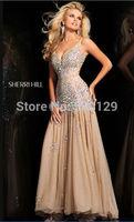 Newest 2013 Sexy V-neck Beaded Crystals Sleeveless Mermaid Prom Dress