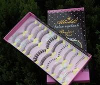 Free shipping (10 pairs/box) high quality false eyelashes handmade  transparent natural looking eyelashes