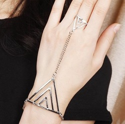 New style fashion punk rock gold triangle ring bracelet jewelry women S5423(China (Mainland))