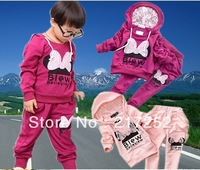 baby suits Girl's Tracksuits Children sport suits Butterfly Lace fish scale Girl's short sleeve Hooded sweater +  pants suits