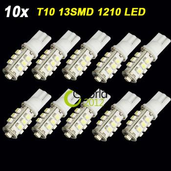 10PCS T10 1210 SMD 13 LED Car Side Wedge Door Light W5W 12V White 13SMD 147 152 158 159 161 168 184 192 193 194 Auto Lamp Bulb