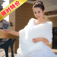 Fur shawl bride cape fur shawl married cape white lengthen thickening big measurement