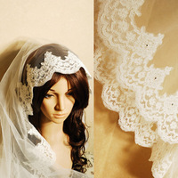 3m long bride veils The bride wedding dress veil lace mantilla laciness veil flower veil for wedding dress
