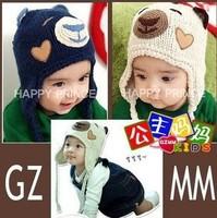 free shipping  Manual bear cap, children cute baby animals woven cap