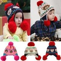 2013 winter new baby bear hair bulb earmuffs cap knitting hat 1pcs