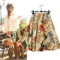 Free ship,lady/women spring  fashion linen cottonbohemia print skirt