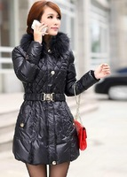 2012 winter raccoon fur down coat female medium-long women silm overcoat  free shpping