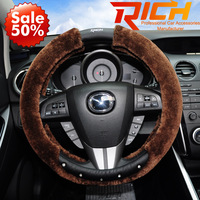 2014 Hot Sale Ruich free Shipping New Brand Auto Designer Interior Women Accessories Luxury Crystal Fur Car Steering Wheel Cover