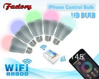 Wifi Led light bulb with iPhone control AC85-265V E26/E27/B22 available free shipping high quality