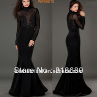 Wholesale And Retail 2013 Sexy Full Length Mermaid High Collar Sheer Bodice Black Long Sleeve Evening Dress 2013
