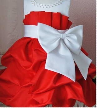 NEW,2013 children dress 4pcs/lot girls High-grade Princess dress chiffon Big bowknot dresse for summer free shipping red pink