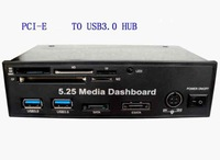 5.25 Media Dashboard PCI-e to USB 3.0 HUB and USB All-in-one card reader with SATA AND ESATA Slot