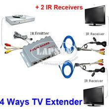Nb201 filaire AV TV Audio vidéo expéditeur émetteur récepteur IR Extender répéteur infrarouge adaptateur avec 1 emetteur 2 récepteur New(China (Mainland))
