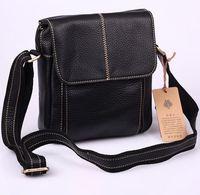 free shipping handmade real genuine leather vintage casual shoulder bag fashion classic black messenger bag