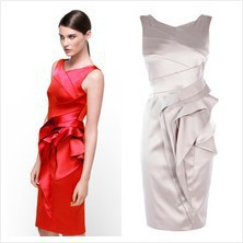 Free shipping dp198 KM cocktail branded fashion women's sleeveless satin celebrity party prom dress 3 colors back v-neck(China (Mainland))