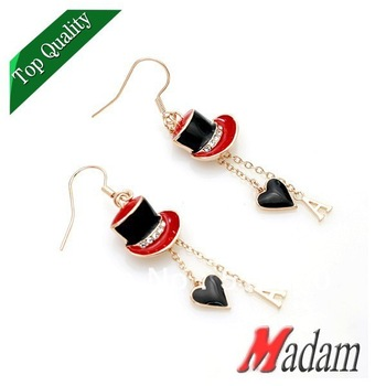 Fashion jewelry gold plated 8821330042ab Jazz hat double drop heart letters drop earrings made with Austrian crystal red brim