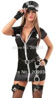 New arrive! women police costumes,sexy uniform with belt,slim women fancy dress,sexy cosplay   cheaper price YRG12