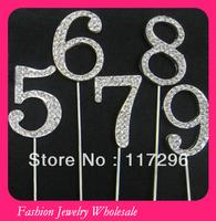 New Style Numbers Rhinestone Cake Topper 100pcs/lot