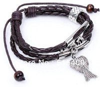 Woven Leather Bracelet with Alloy Angel Wings Charms Fashion Men's jewelry Wholesale Free Shipping