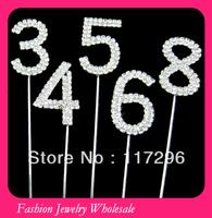 Fashion Numbers Diamond Cake Topper 100pcs/lot