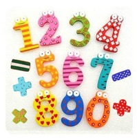 FREE SHIPPING ! 15 Number Figure Educational Kids and Children Wooden Refrigerator fridge magnet stick&amp; (1pack for 15pcs)
