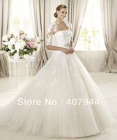 FREE shipping new style white tulle floor length ball gown wedding dress with half sleeve jacket