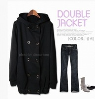 free shipping Korean Double Breasted Hooded Coat Black Y10081021