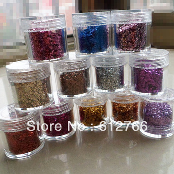 free shipping nail art  glitter powder  12pcs/set