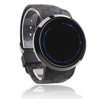 Cool Touch Screen Digtal Led Watch for Women and Men Unisex Silicone Band Blue Light free shipping
