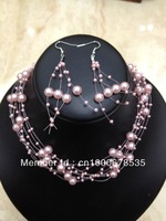 Pink Faux Pearl Floating Necklace   Earrings Set Handmade wholesale FREE SHIPPING