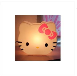Hello Kitty Face Desktop Plastic Light Lamp Piggy Box Children hellokitty table lamp night light(China (Mainland))