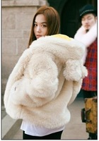2012 cartoon rabbit ears with a hood thickening fur coat female freeshipping
