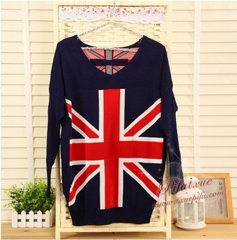 NEW Women's Knit  Sweater UK Flag Knitwear Blazer Sweater  stylish british style knitting clothing Free Shipping Retail