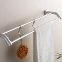 Free shipping 61cm aluminum double Towel bar Rail hanging rod with hooks Bathroom fitting wall mounted