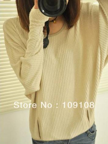 Free shipping bat sleeve women ladies&#39; clothing long sleeve elegant gloves knitted clothing pullover knit wear(China (Mainland))