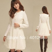 Womens coats clothing fashion slim fitted white lace and wool coats outerwear overcoats Coats 989