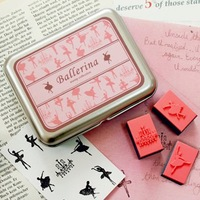 New Creative cute Ballerina Stamp Set tin stamp Iron Box DIY stamp DIY funny work promotion gift bf-097