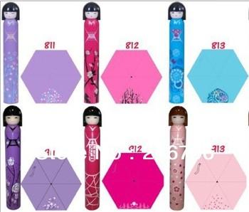 30pcs/lot Super Cute Bottle Japanese Girl Doll Fashion Folding Sun Rain Umbrella +Free Shipping